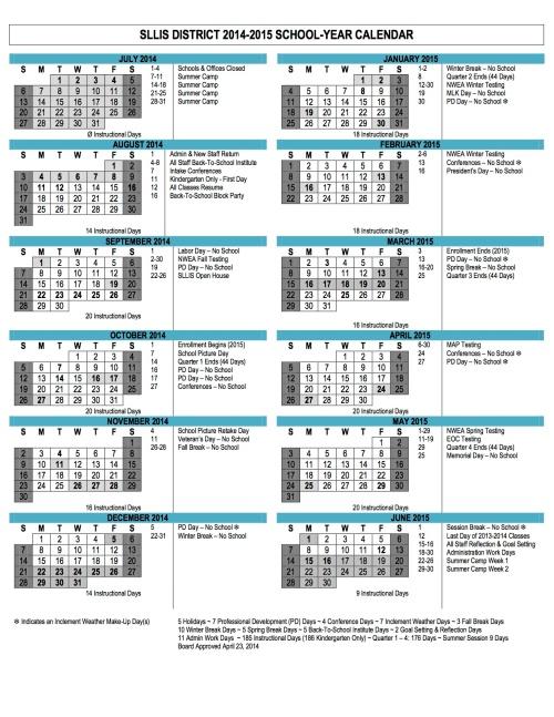 2014-15 School Calendar